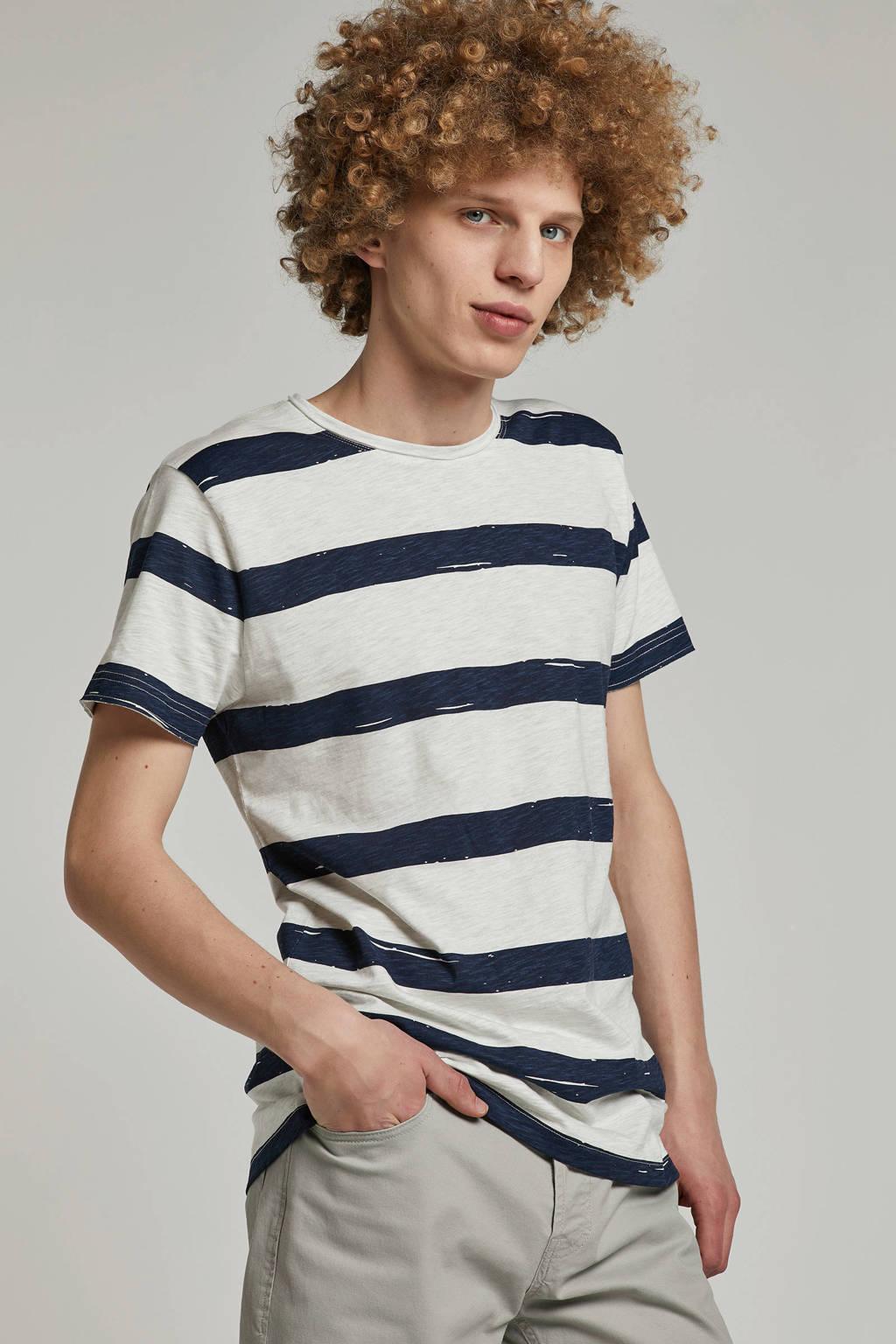New in Town T-shirt met streepprint ecru, Ecru/ donkerblauw