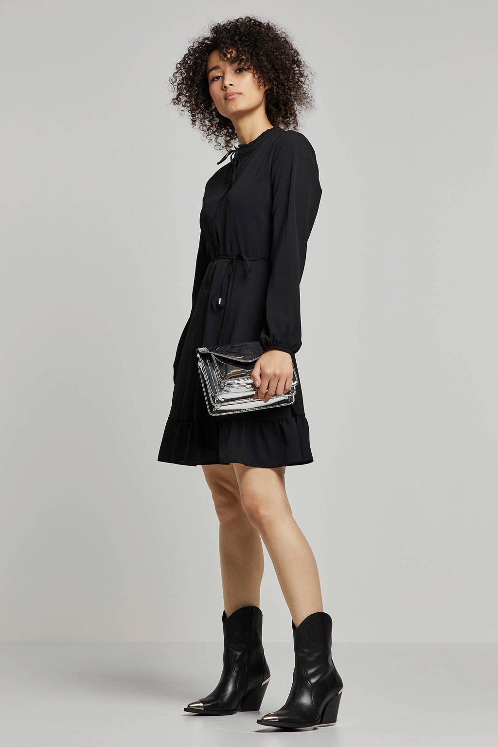 whkmp's own gevoerde jurk met rushes, Zwart