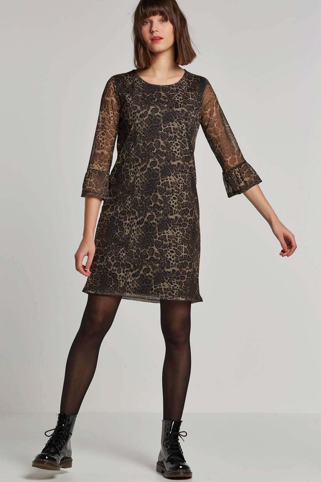 OBJECT jurk met panter print, Zwart/bruin
