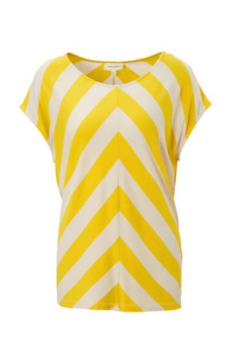 T-shirt met all over print geel