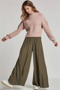 Catwalk Junkie high waist flared fit gestipte broek, Groen/wit