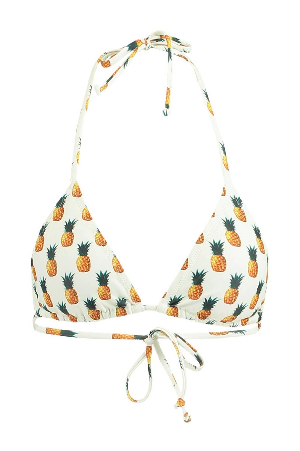 America Today Mix & Match triangel bikinitop Anna ananas, Wit/geel