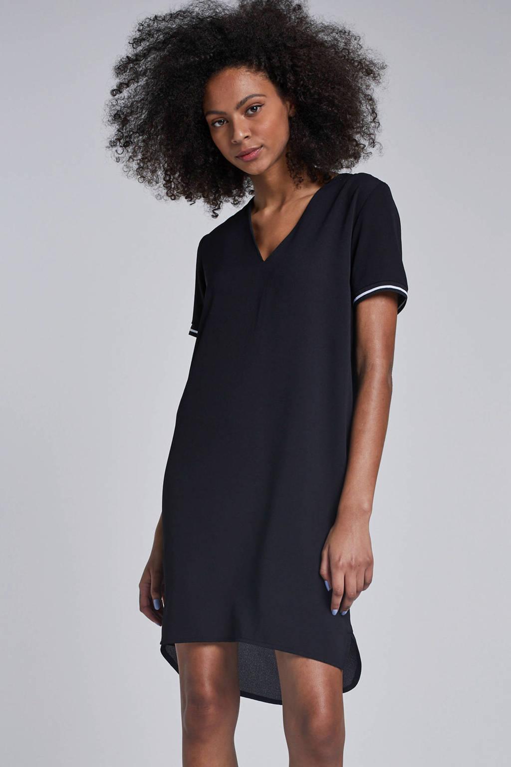 jurk met streep mouwbies, Zwart