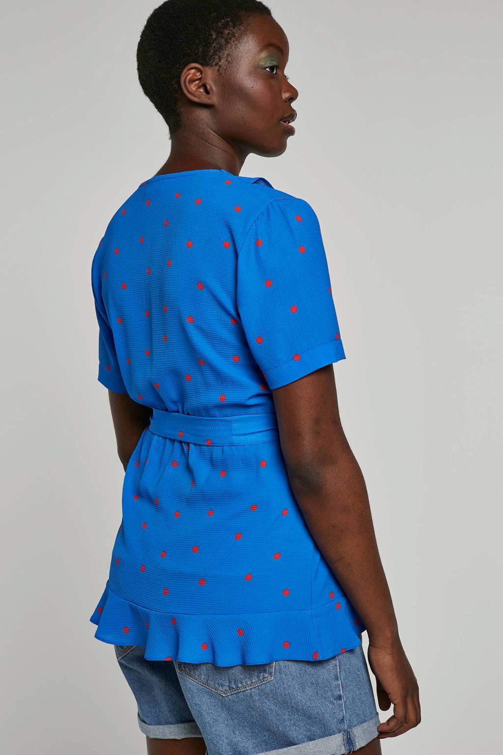 whkmp's own wikkel-look top met stippenprint, Kobaltblauw/rood