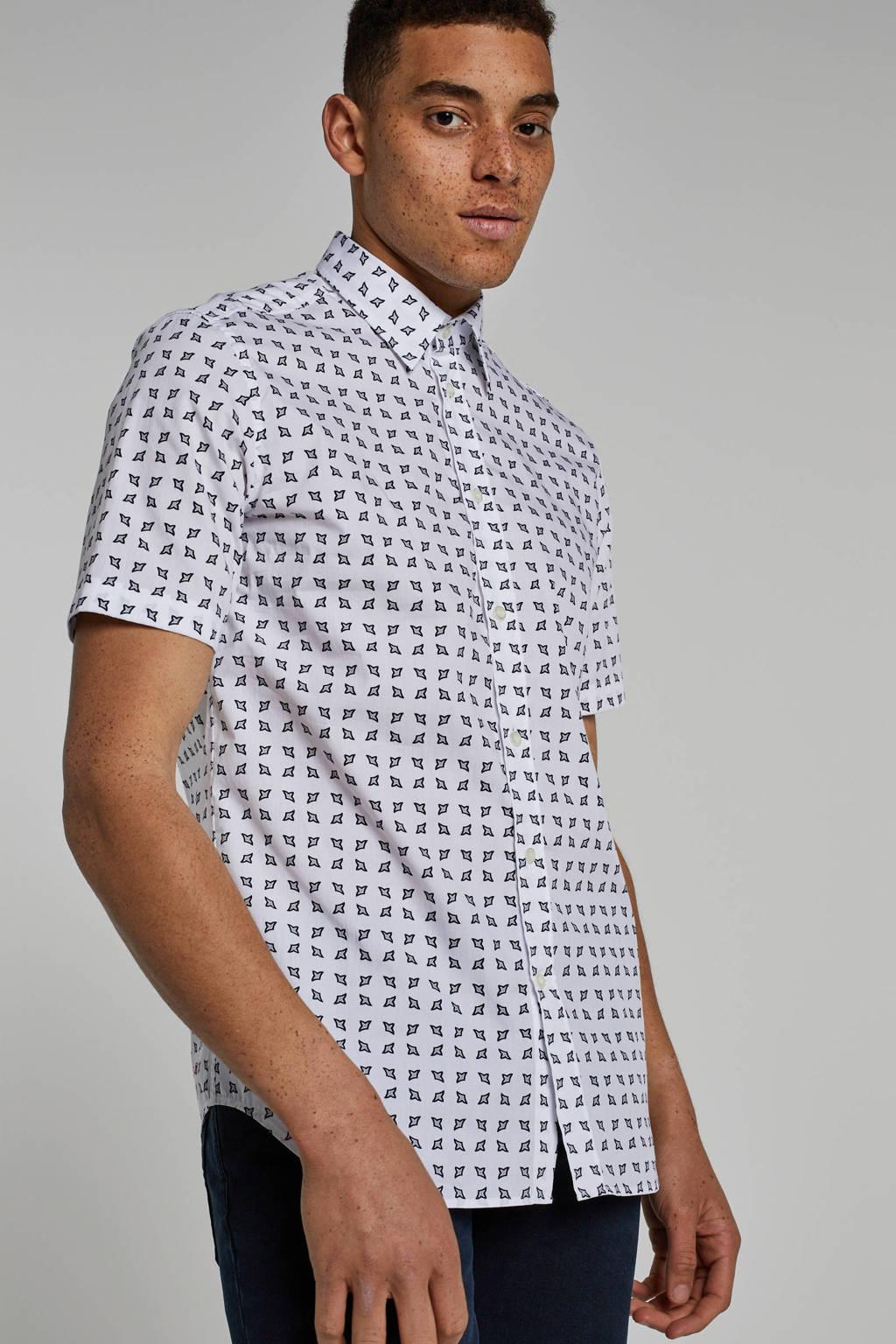 Diesel overhemd met allover print, Wit/ grijs/ zwart