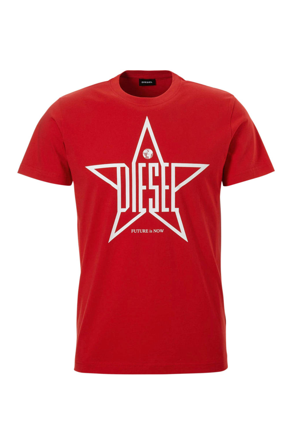 Diesel T-shirt, Rood/wit