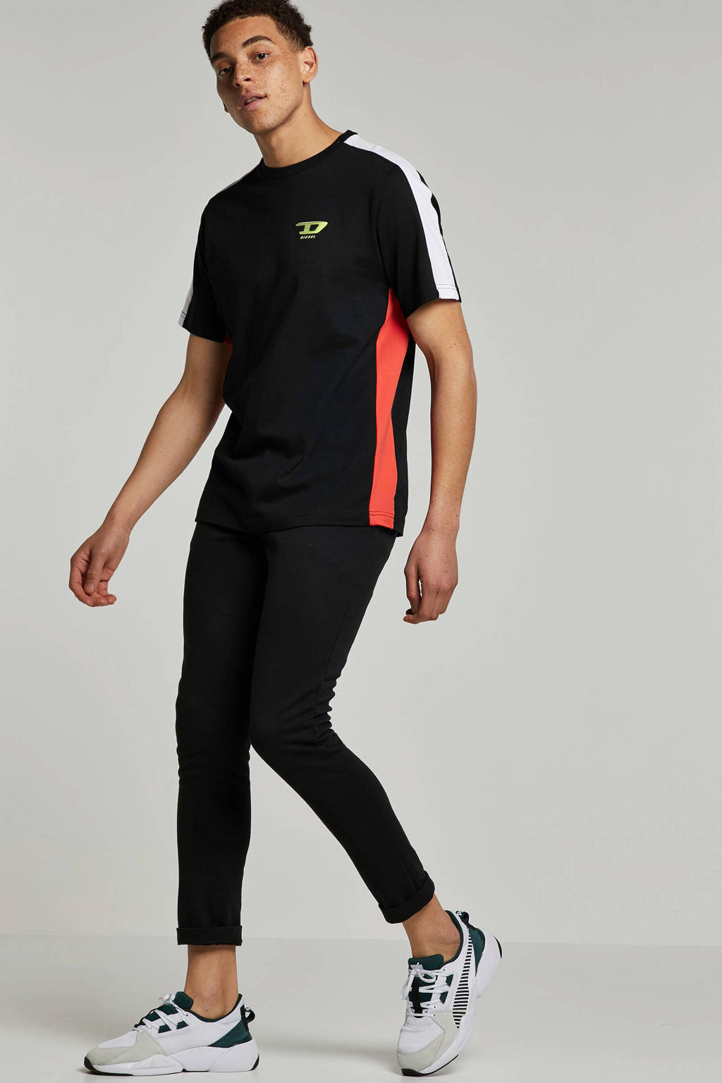 Diesel T-shirt met logo, Zwart/rood/wit