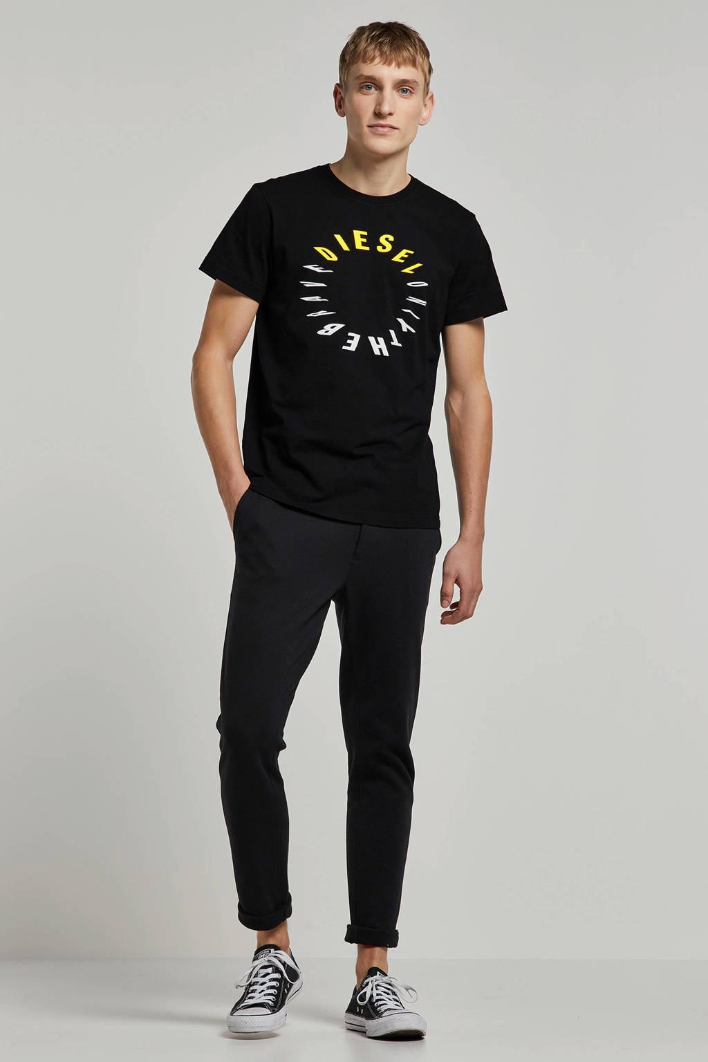 Diesel T-shirt, Zwart/geel/wit