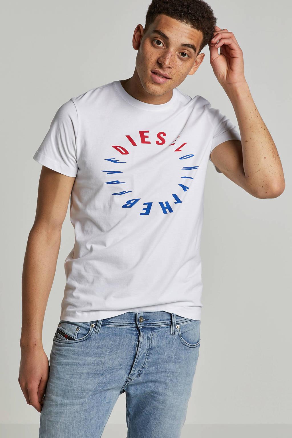 Diesel T-shirt met print opdruk, Wit/rood/blauw