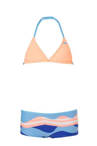 triangel bikini met print zalmroze