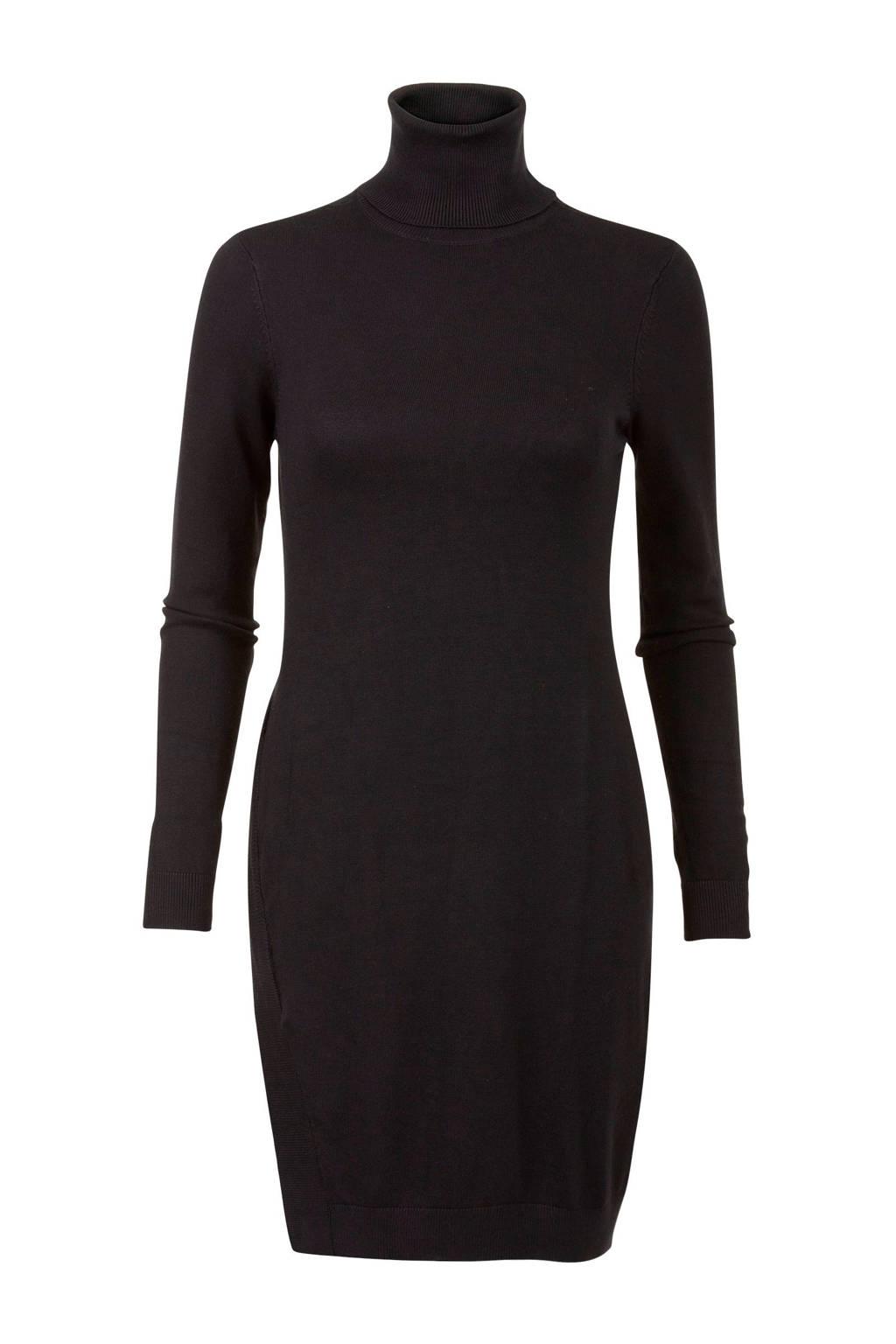Miss Etam Regulier gebreide jurk met col zwart, Zwart