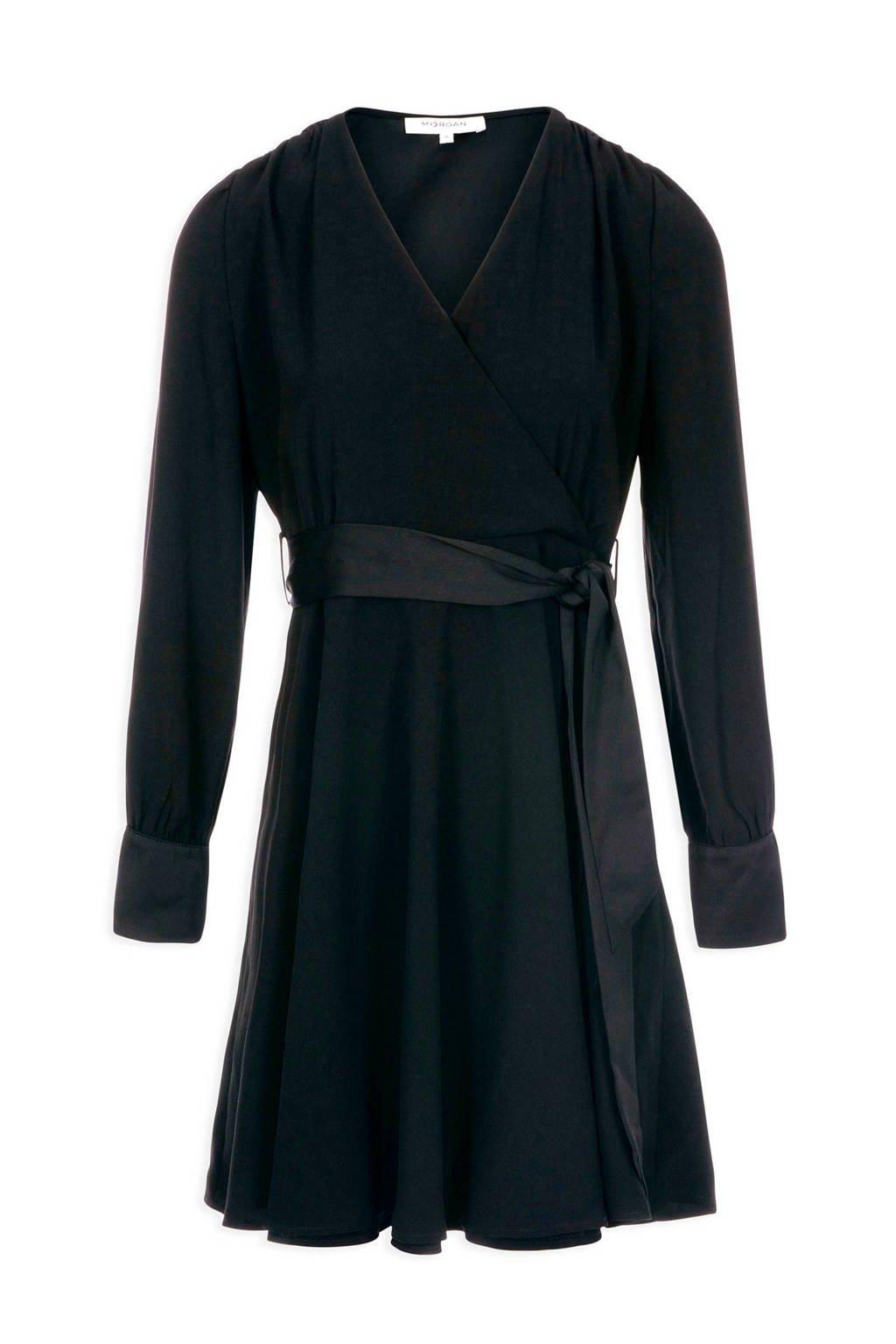Morgan jurk met overslag en strikbandjes zwart, Zwart