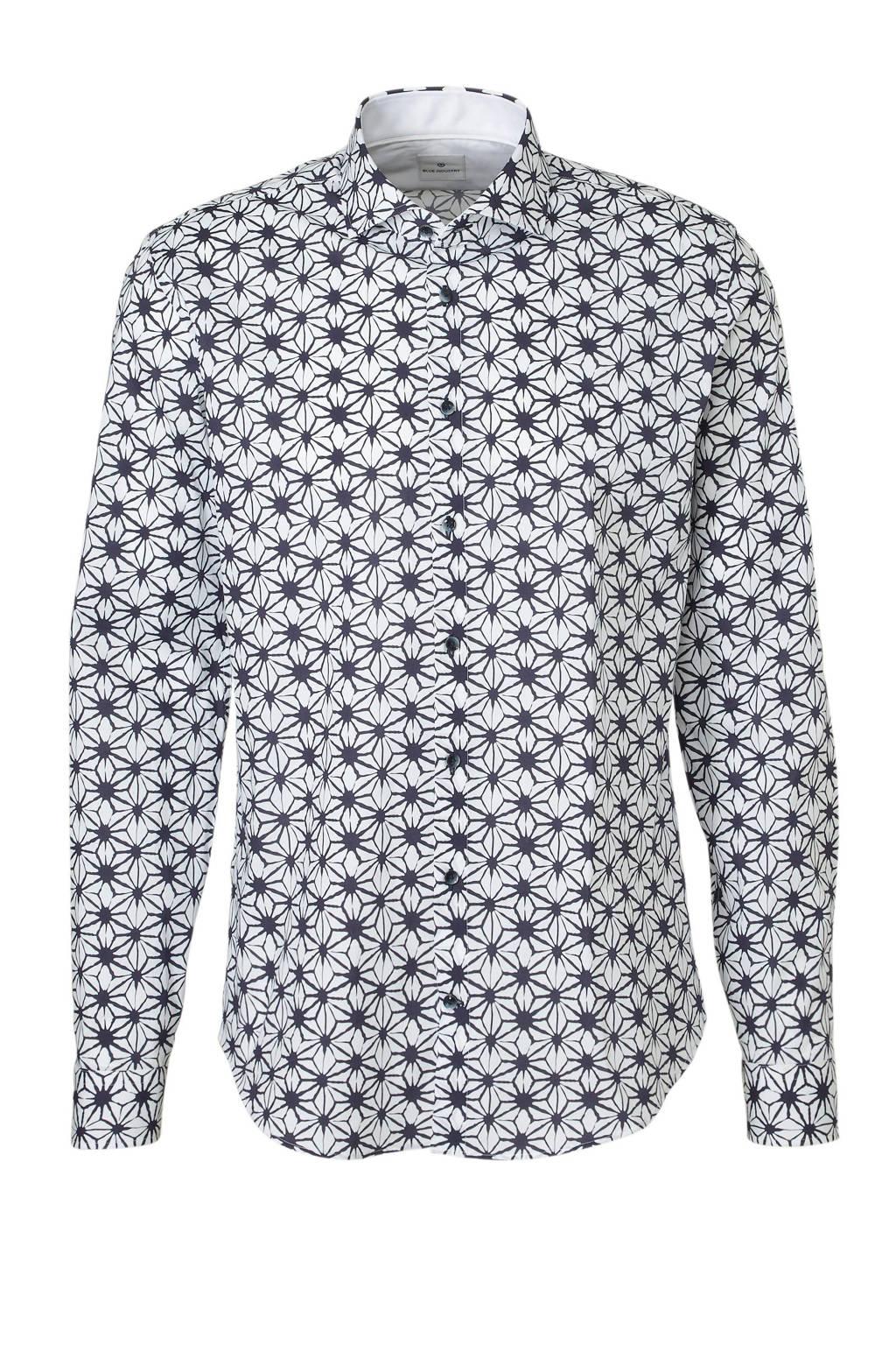 Blue Industry regular fit overhemd met print, Wit/marine