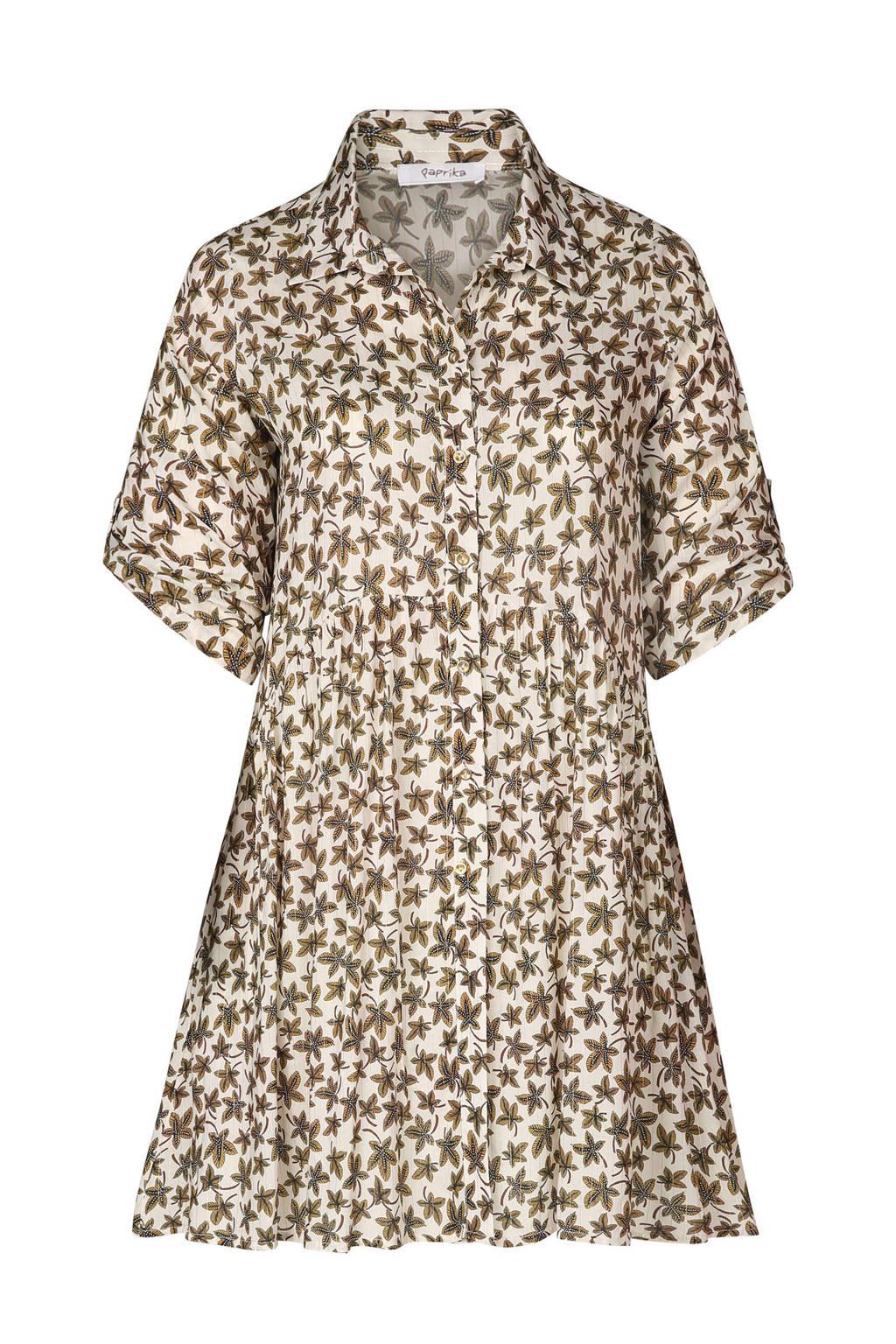 Paprika blousejurk met alover bladprint en lurex, Ecru