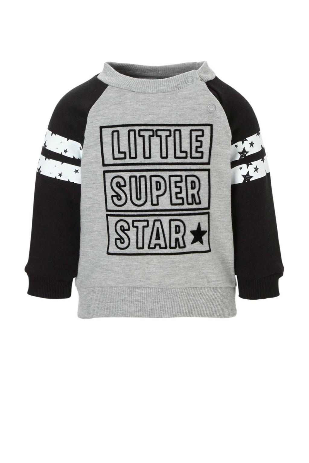 C&A Baby Club sweater met tekst grijs, Grijs/zwart