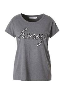 C&A XL Clockhouse T-shirt met tekst grijs