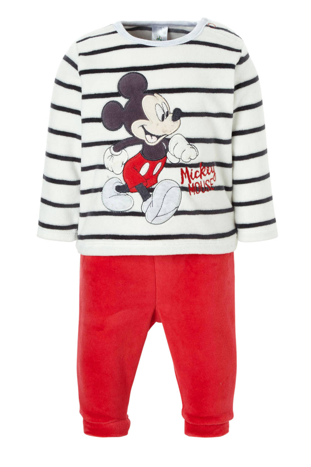 C&A Baby Club   Mickey Mouse velours pyjama met strepen, Ecru/blauw/rood
