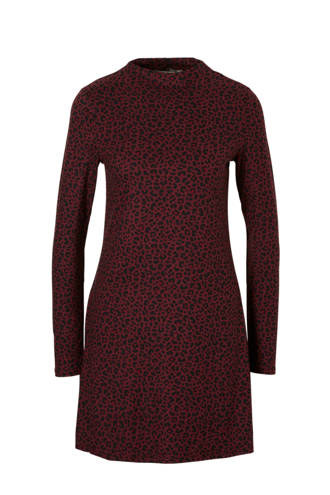 jurk met all over tijgerprint bordeaux