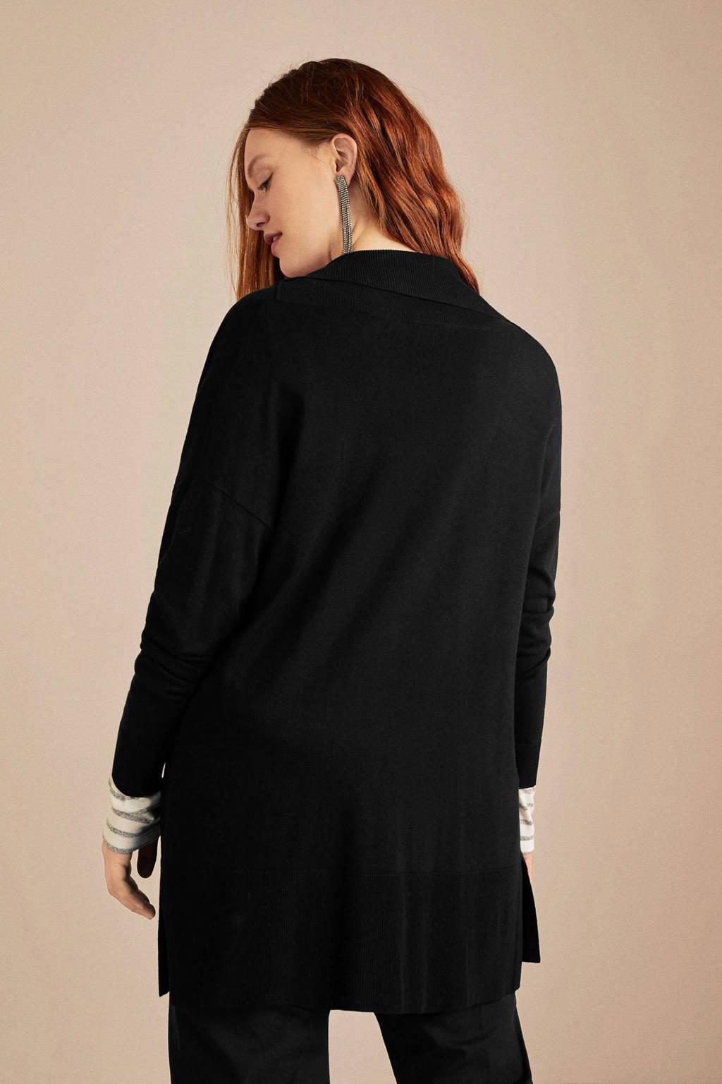 Violeta by Mango fijngebreide vest zwart, Zwart