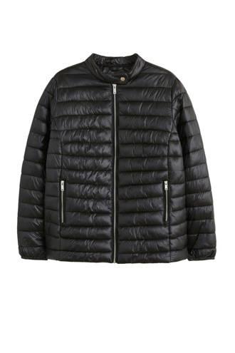 doorgestikte jas zwart