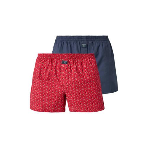 s.Oliver boxershort set blauw/rood kopen