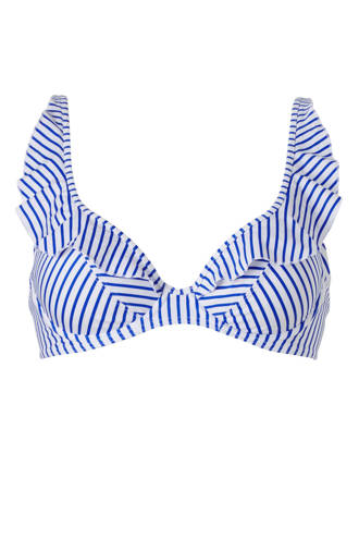 Mix & Match bikinitop met streepdessin wit