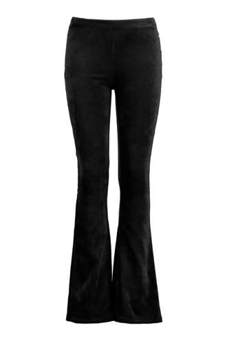 flared legging met ribstof zwart
