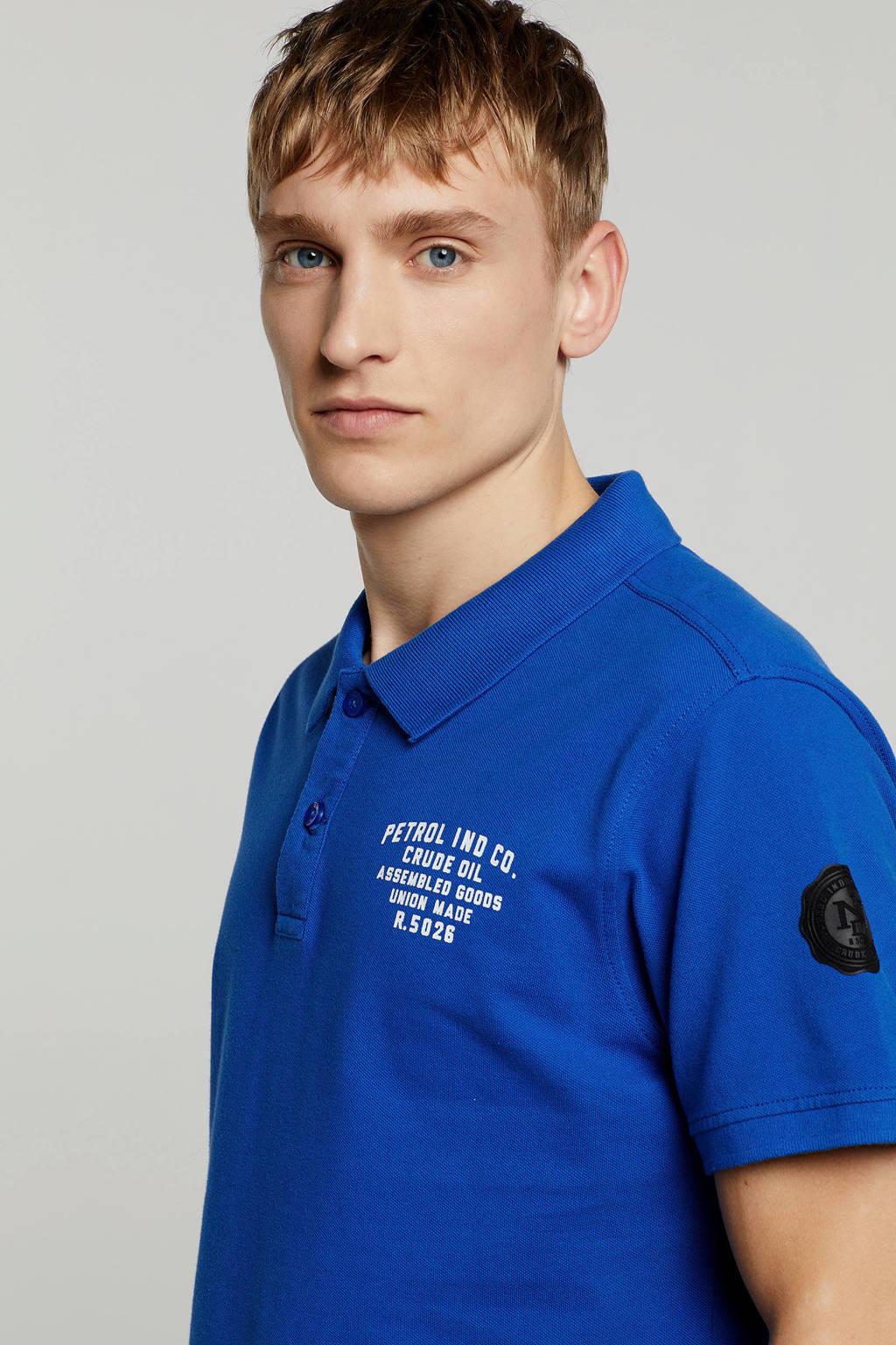 Petrol Industries polo blauw, blauw/ wit
