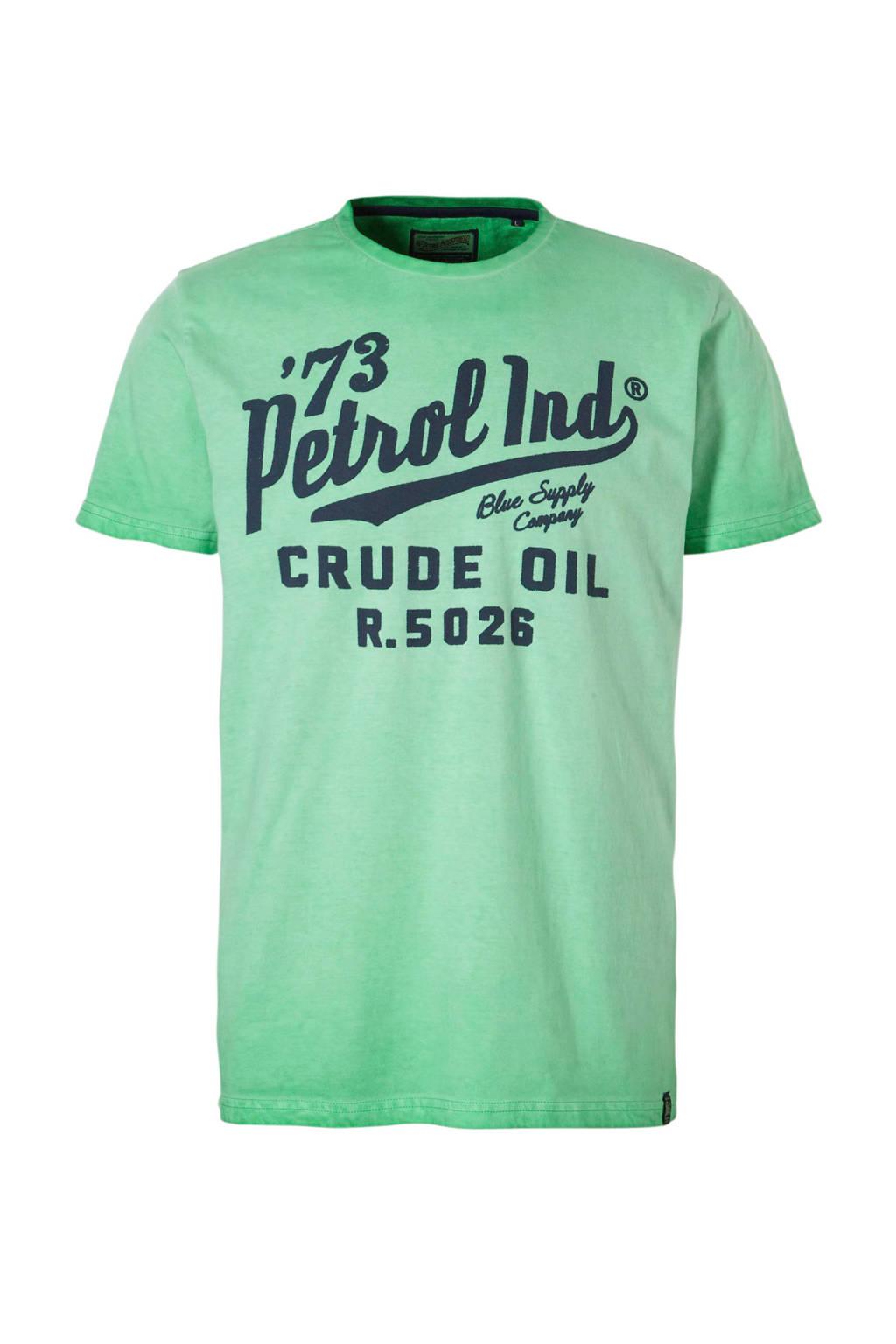 Petrol Industries T-shirt met tekstprint groen, Groen/ Marine