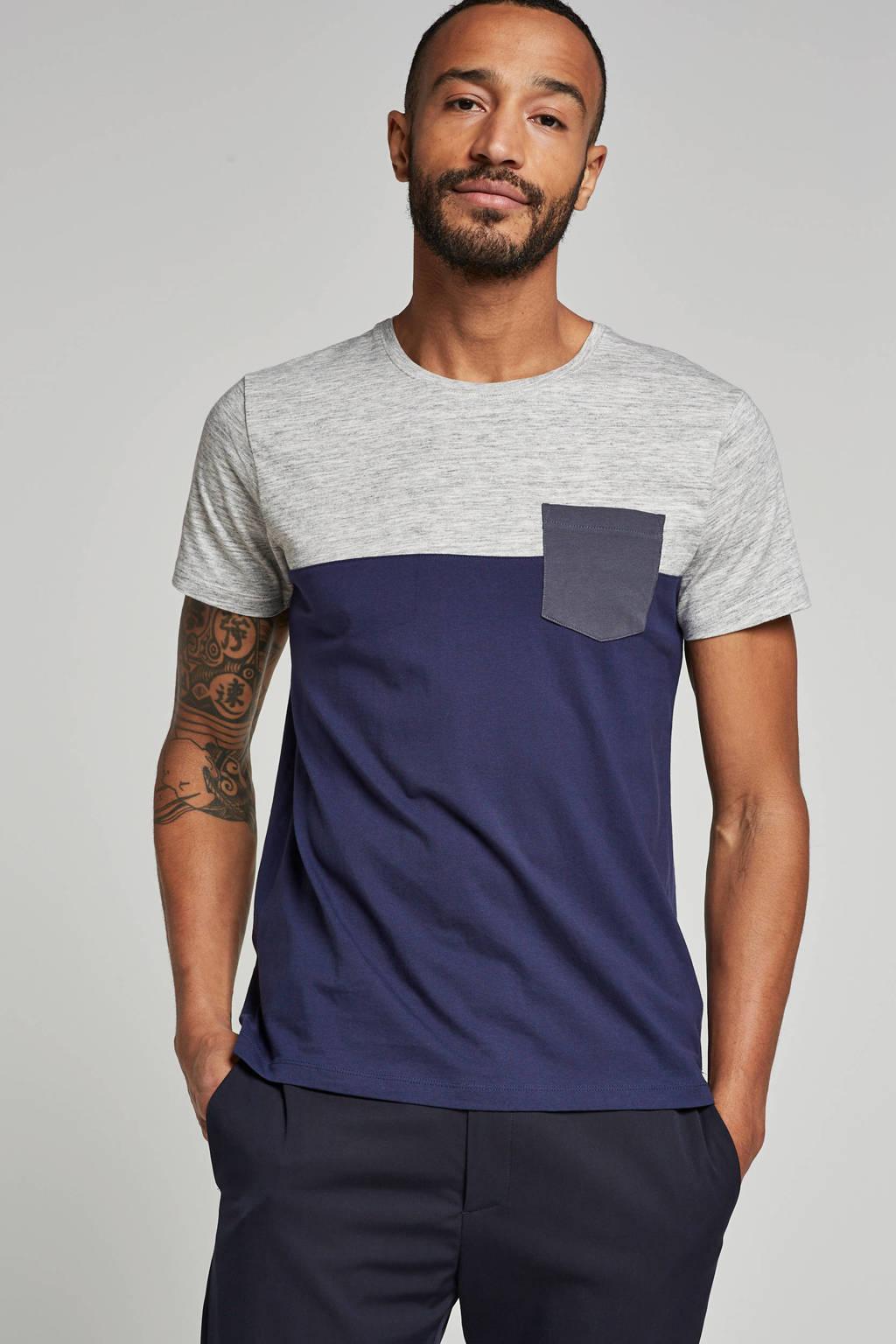 ESPRIT Men Casual T-shirt, Grijs/blauw