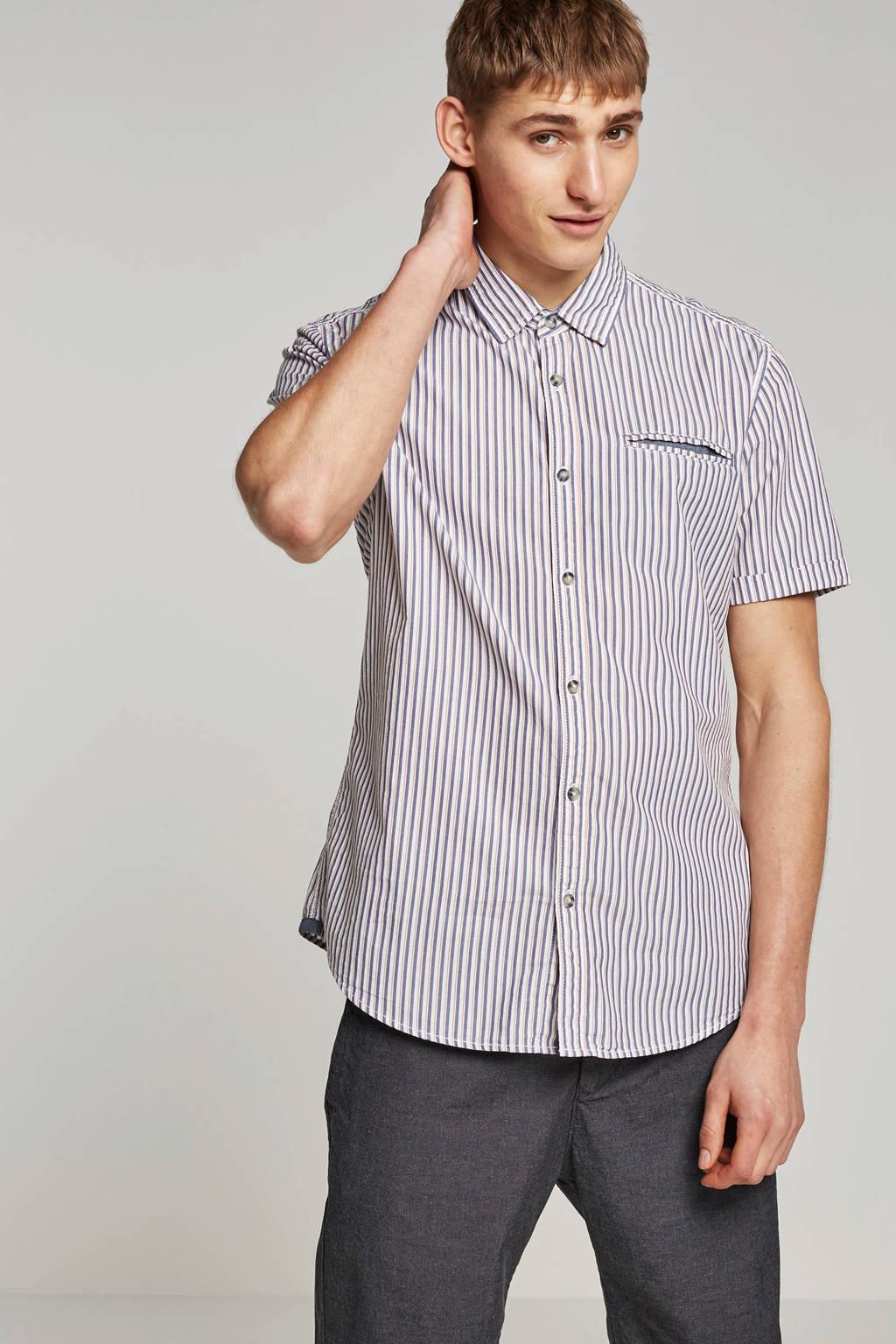edc Men slim fit overhemd korte mouw, Wit/blauw