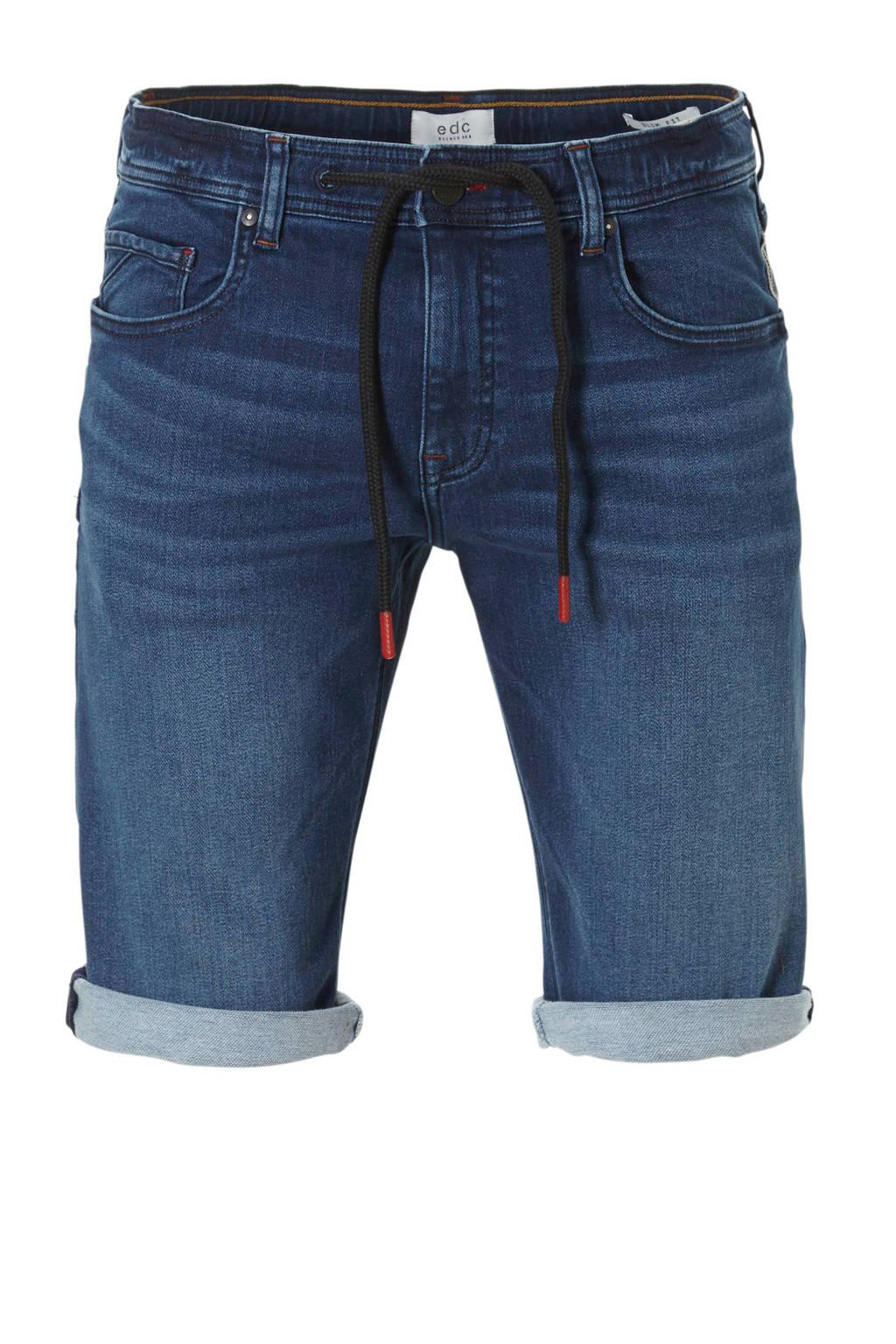 edc Men slim fit jeans short, Dark denim