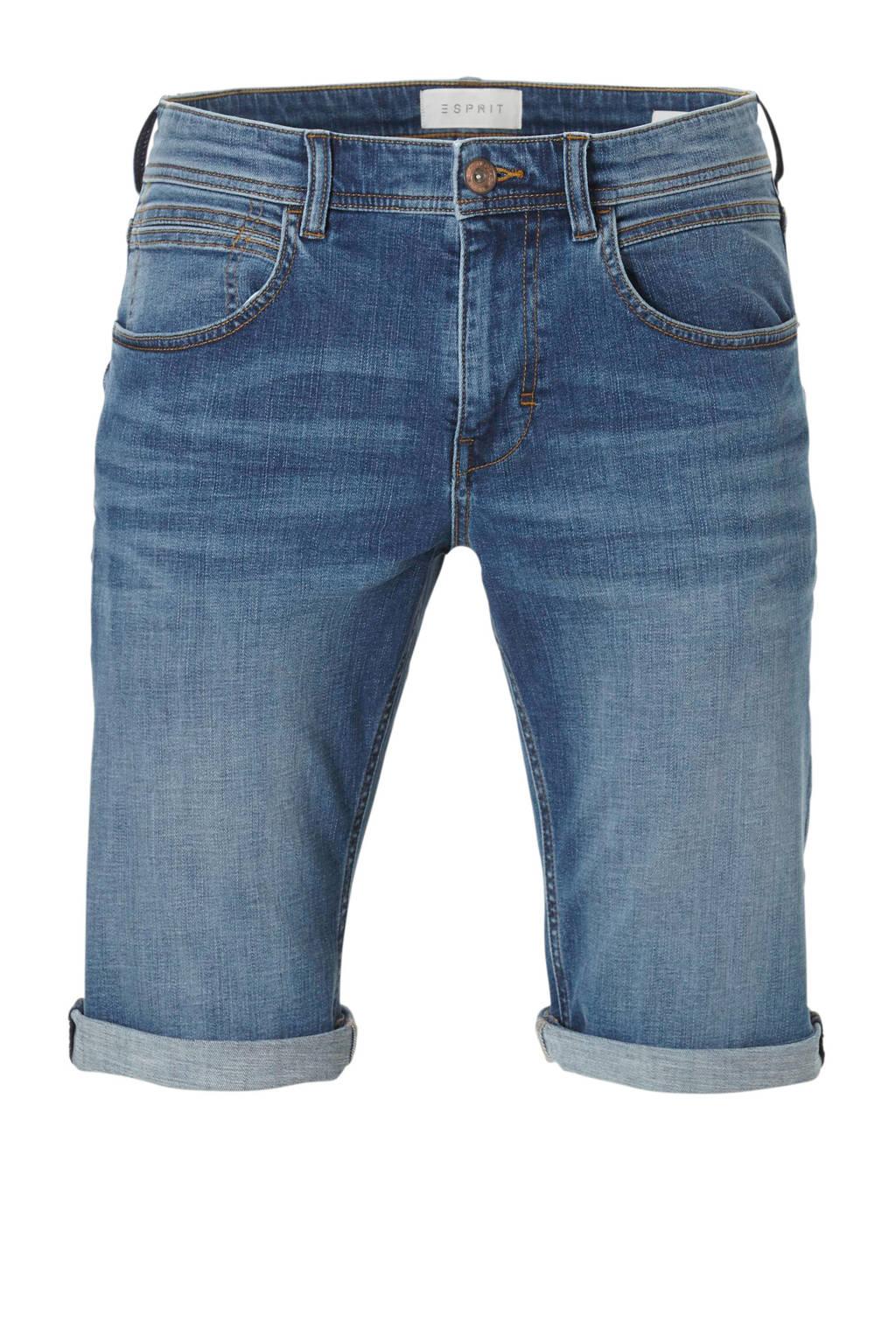 ESPRIT Men Casual slim fit jeans short, Dark denim