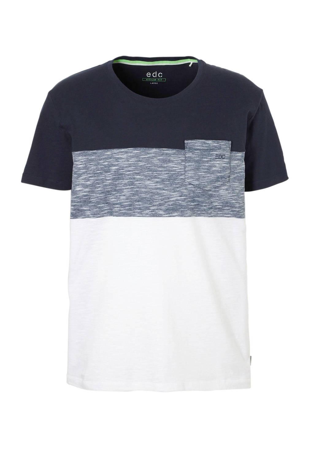 edc Men T-shirt, Donkerblauw/wit