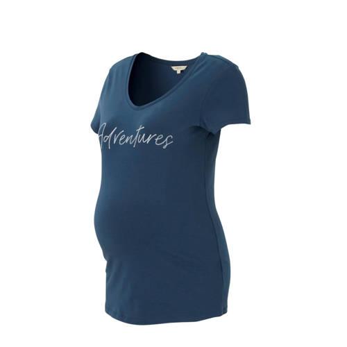 Noppies zwangerschaps T-shirt Norville met tekst blauw kopen