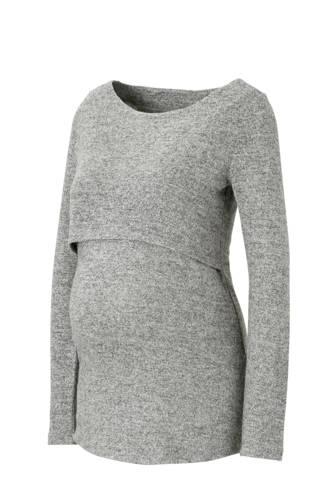 fijngebreide zwangerschap + voeding trui Nanette grijs