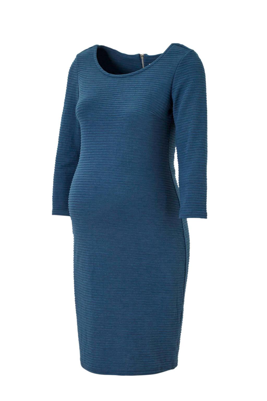 Noppies zwangerschapsjurk Zinnia met textuur blauw, Blauw