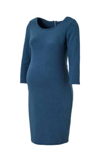 zwangerschapsjurk Zinnia met textuur blauw