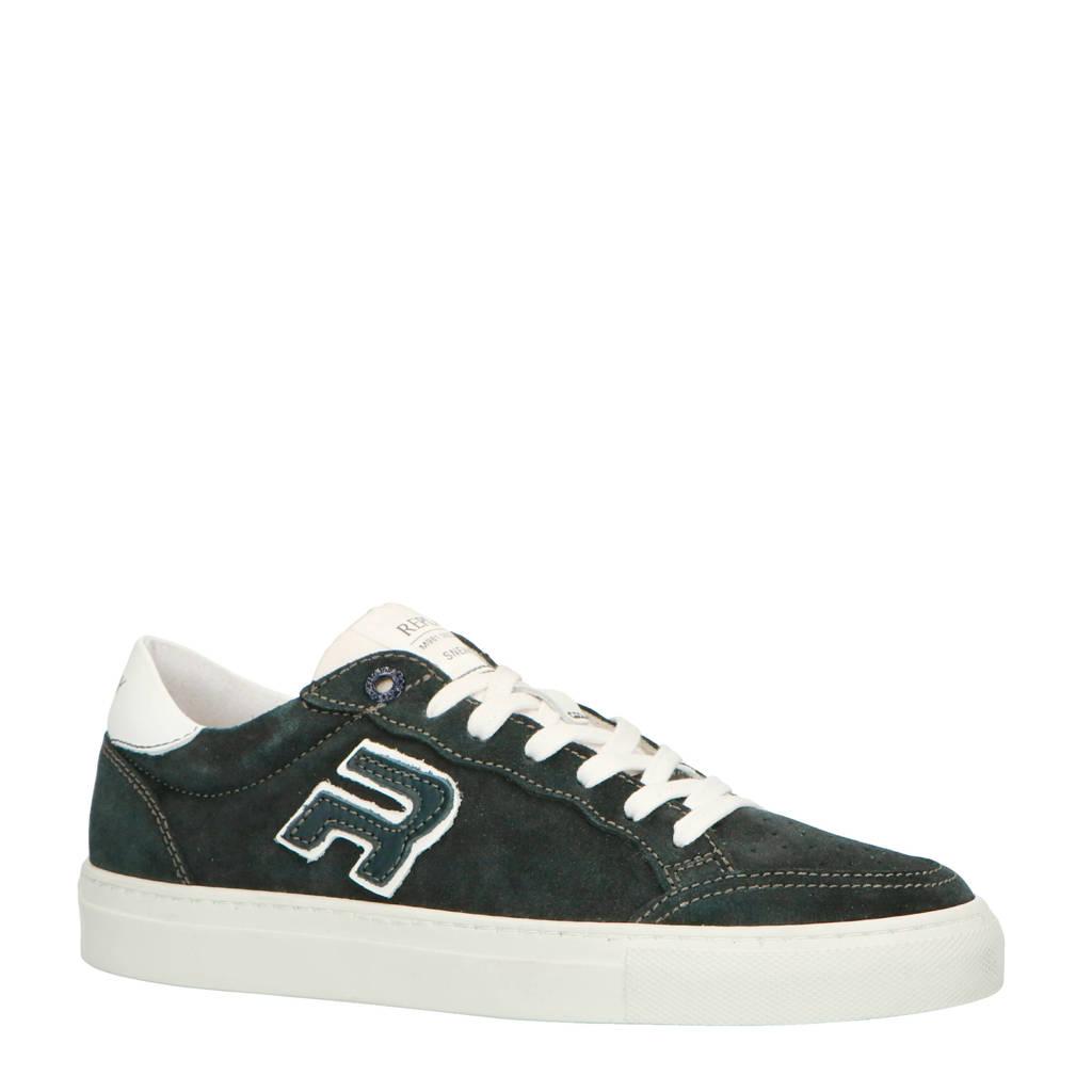 REPLAY  suède sneakers donkerblauw, Donkerblauw/wit