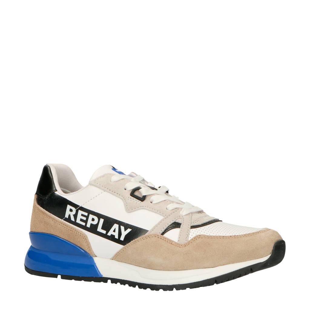 REPLAY  Macundo leren sneakers wit, Wit/blauw
