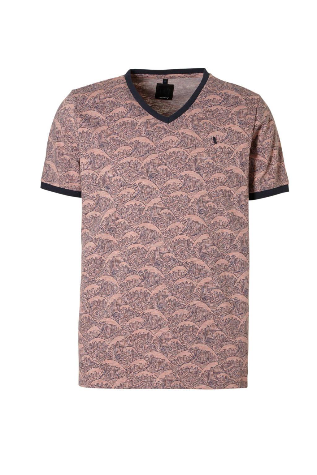 Twinlife t-shirt, Roze/donkerblauw
