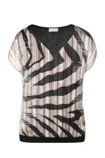 Cassis top met zebraprint zwart (dames)