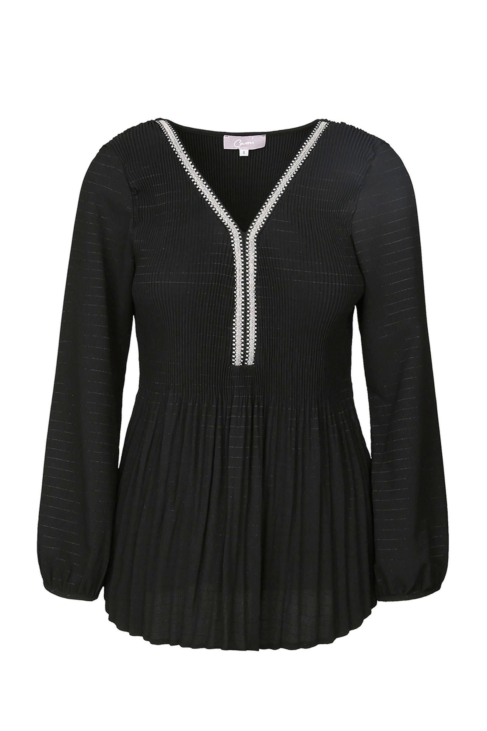 Cassis plissé tuniek zwart (dames)