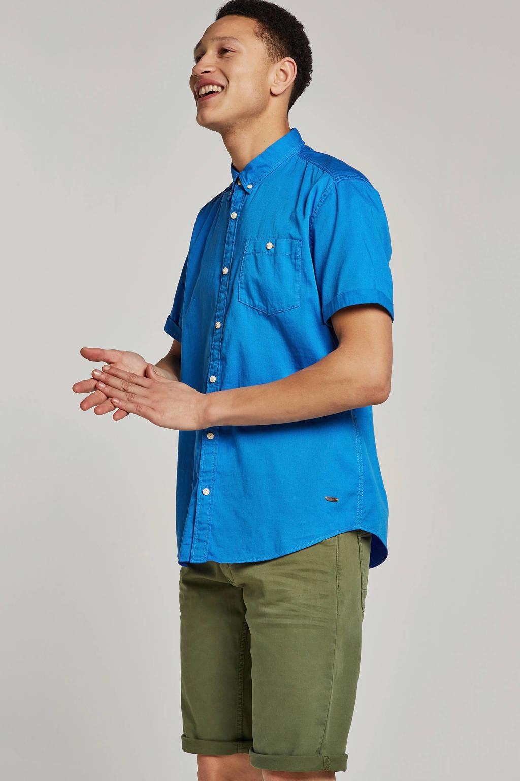 edc Men slim fit overhemd korte mouw, Blauw