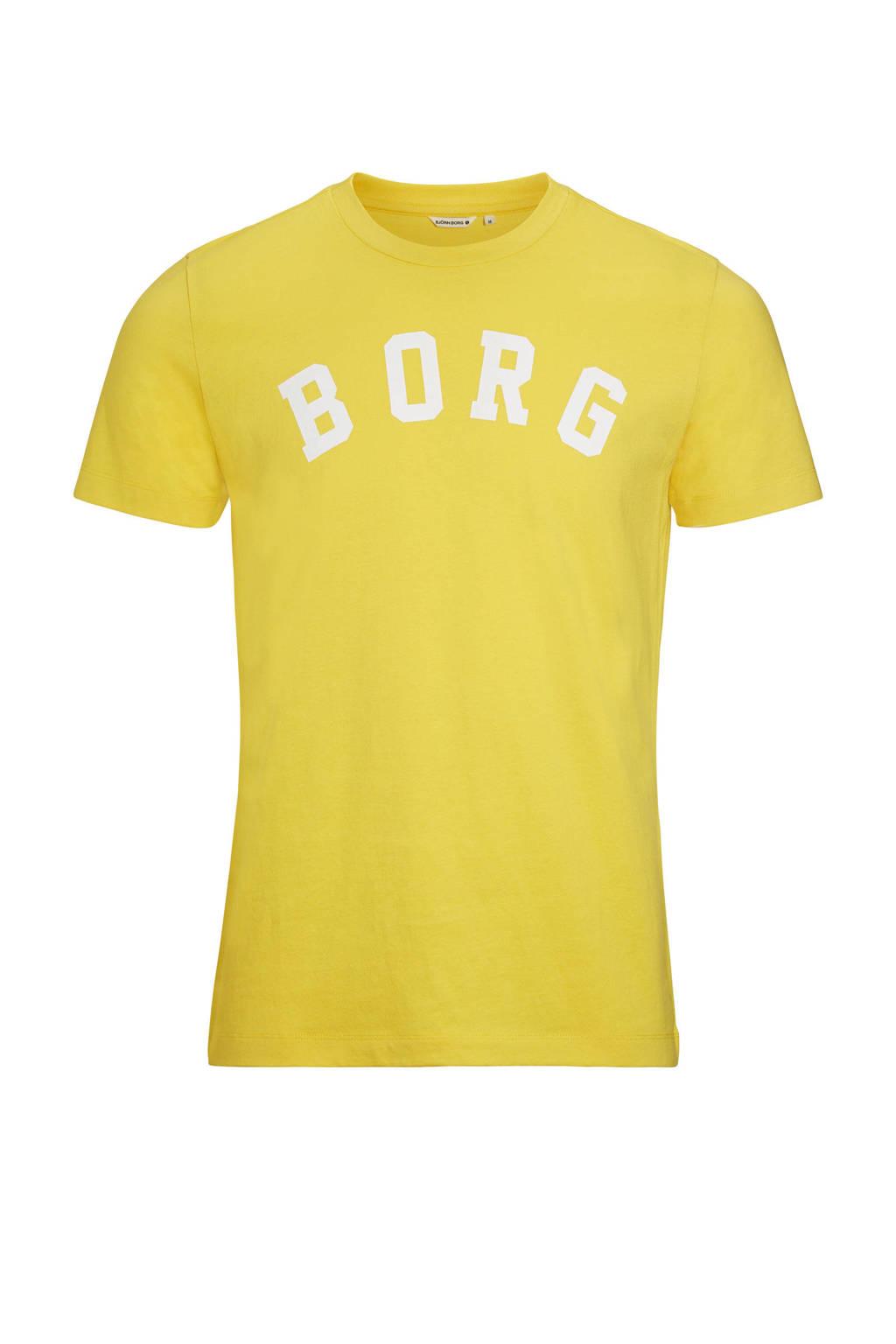 Björn Borg   sport T-shirt geel, Geel/wit