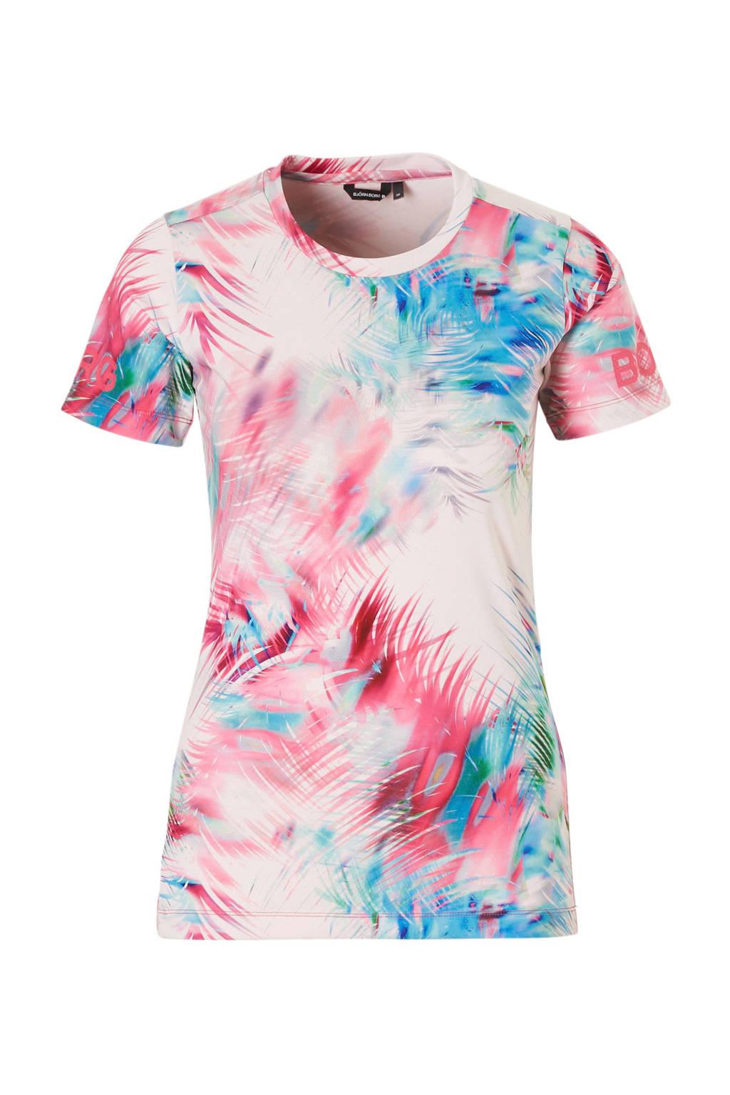 Björn Borg sport T-shirt, Roze/blauw/groen