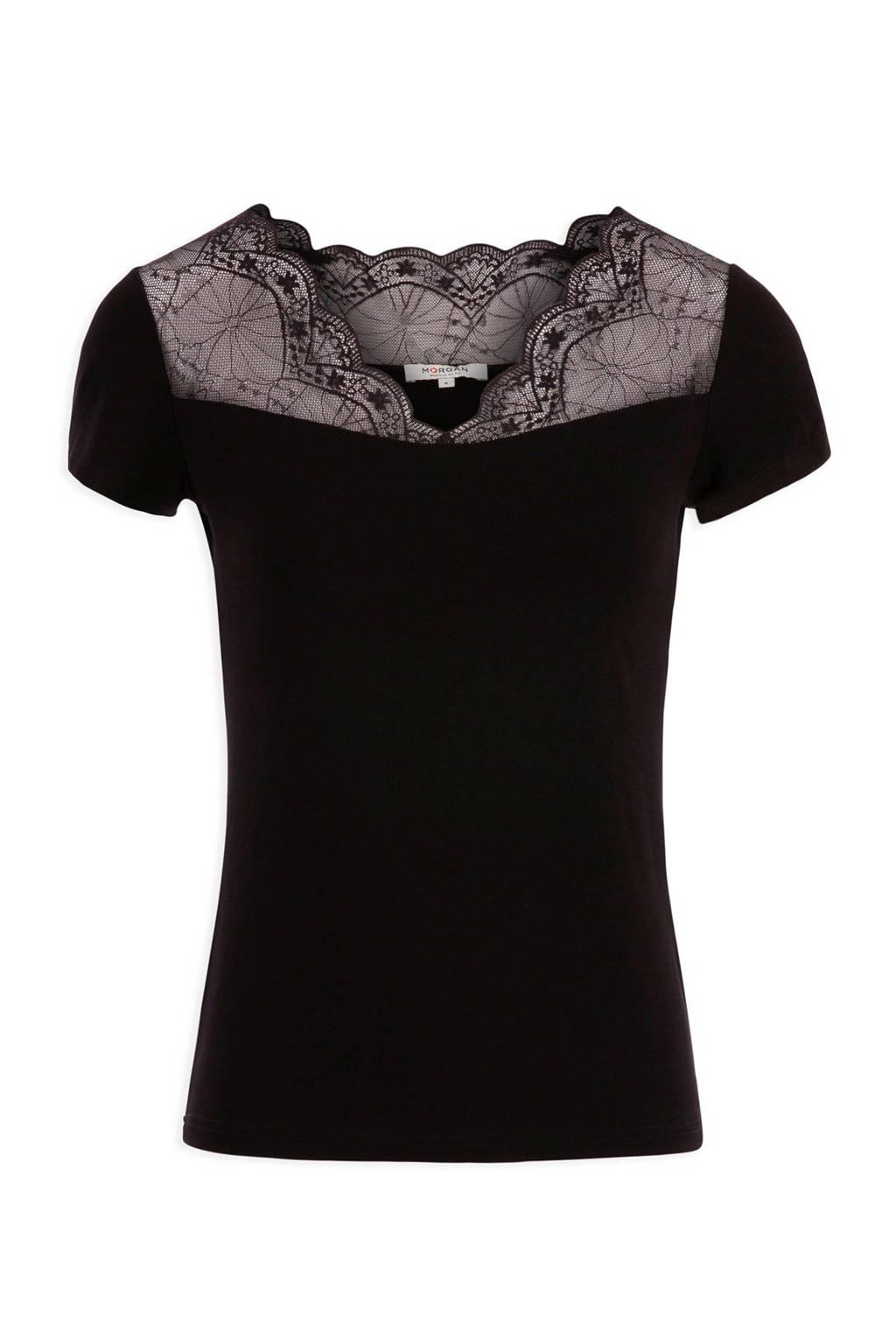 Morgan T-shirt met kant zwart, Zwart
