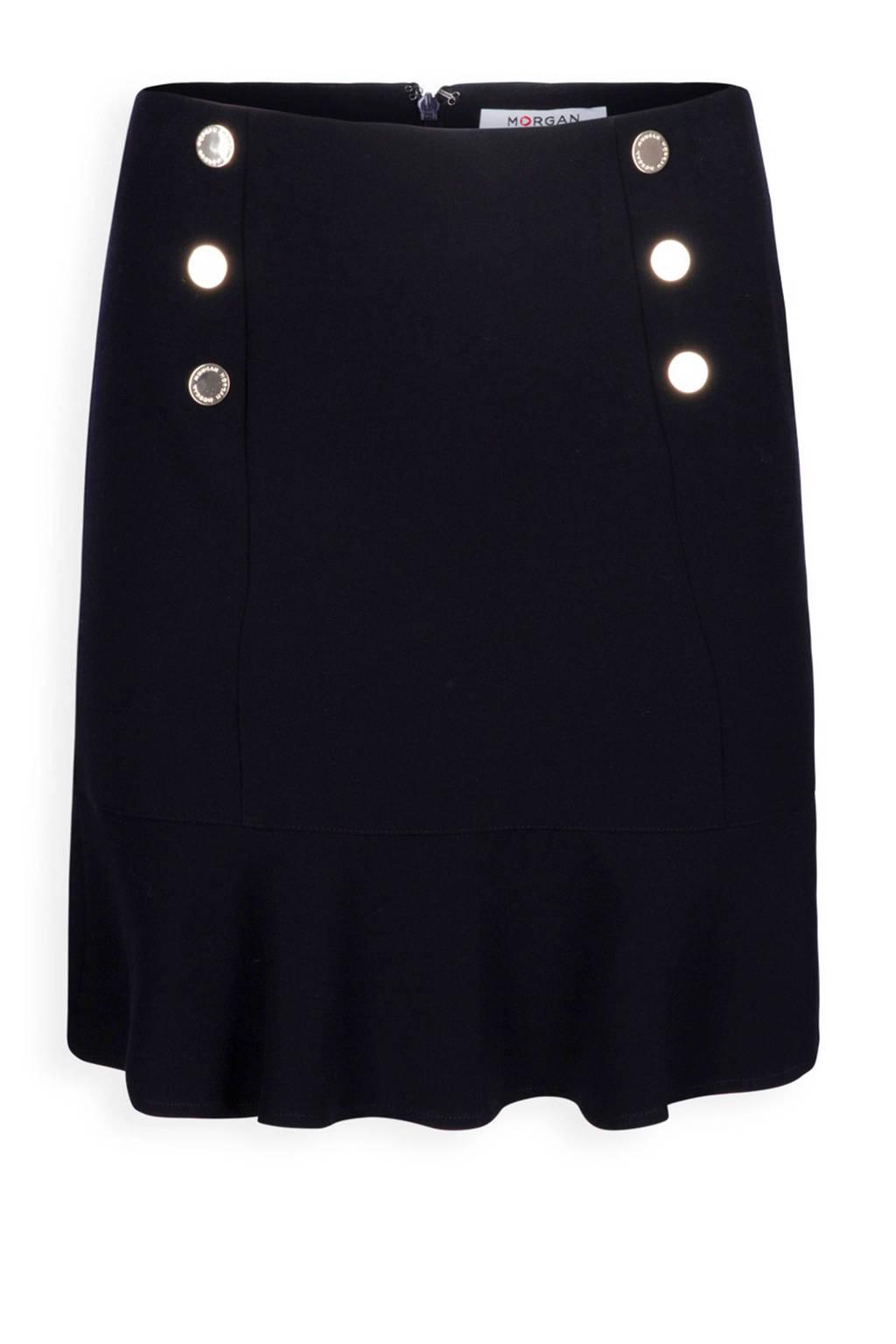 Morgan rok met knopen zwart, Blauw