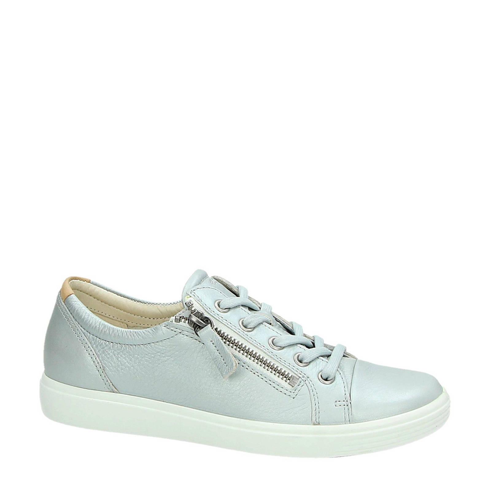Ecco Soft 7 leren sneakers zilver   wehkamp