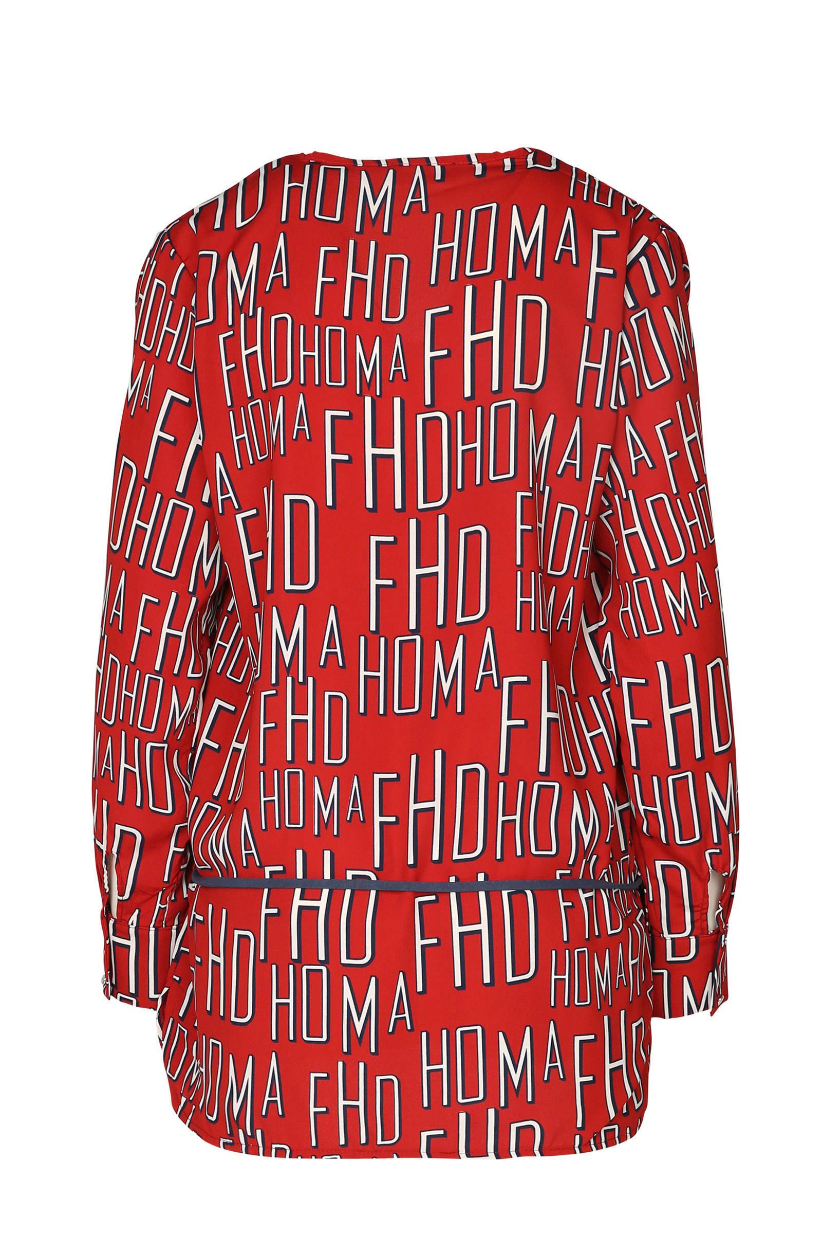 met Cassis tuniek rood letterprint Cassis tuniek qztWgOW